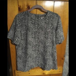 Notations Blouse Size M Silver Animal Print